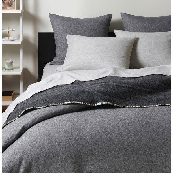 Unison Flannel Graphite Duvet Covers 165 Liked On Polyvore Featuring Home Bed Bath Bedding Duvet Gray Duvet Cover Flannel Duvet Cover Beige Bed Linen