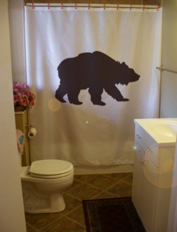 Grizzly Bear Shower Curtain Wild Creature America Black Wilderness