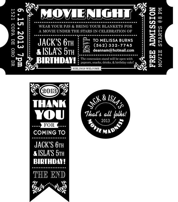 CUSTOMIZED Movie Ticket INVITATION PRINTABLE Movie Party