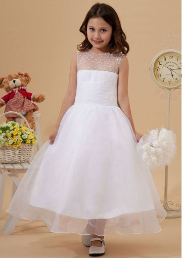 2017 Affordable A Line Scoop Ankle Length White Organza Flower Dresses For 7 Year Olds