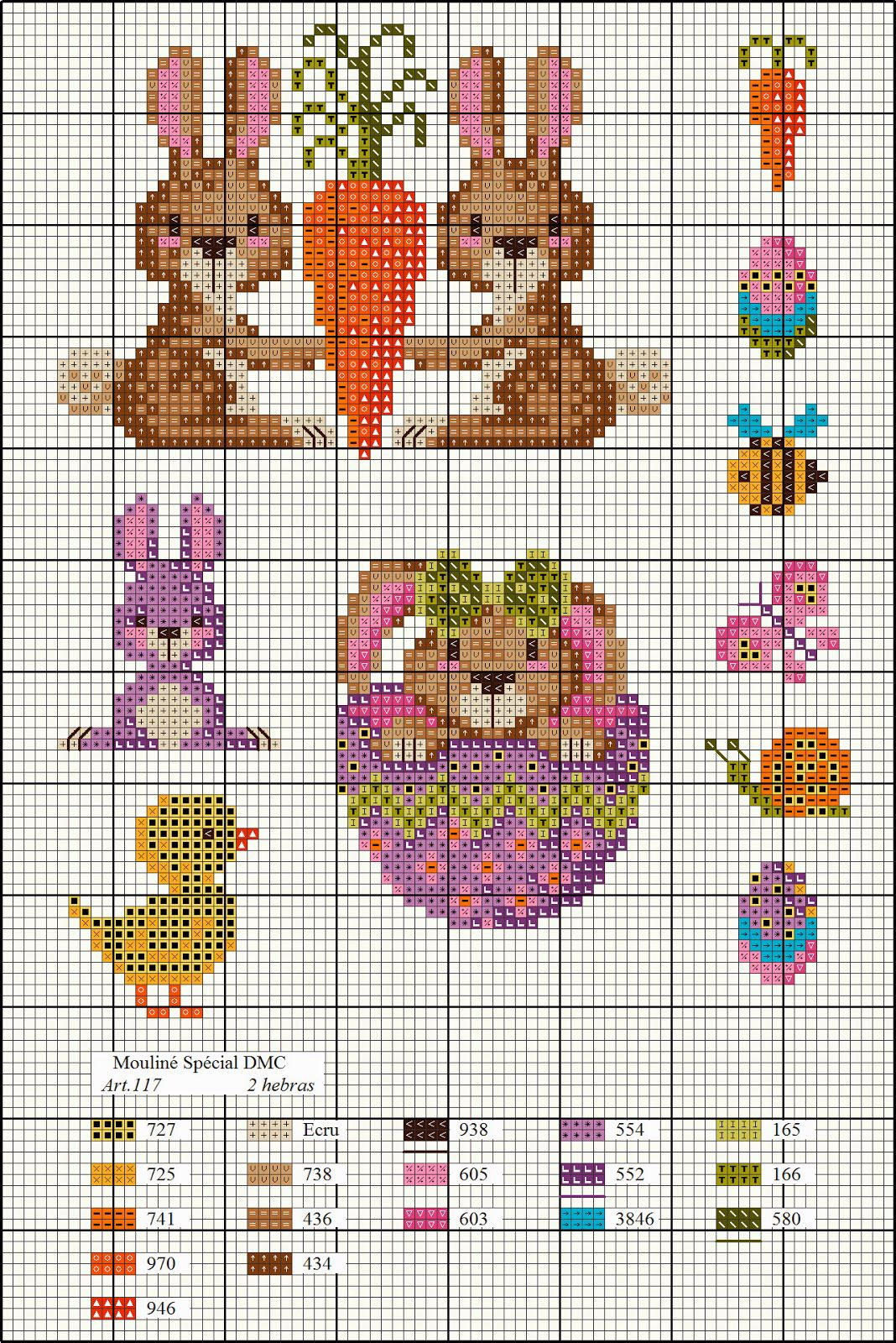 Stickvorlage für Ostern mit Farbpalette  Kleiner kreuzstich