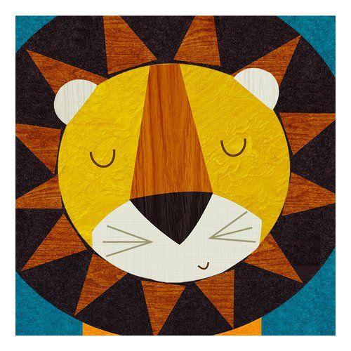 Found it at AllModern - Retro Animals Lion by Rebecca Elliott Canvas Art