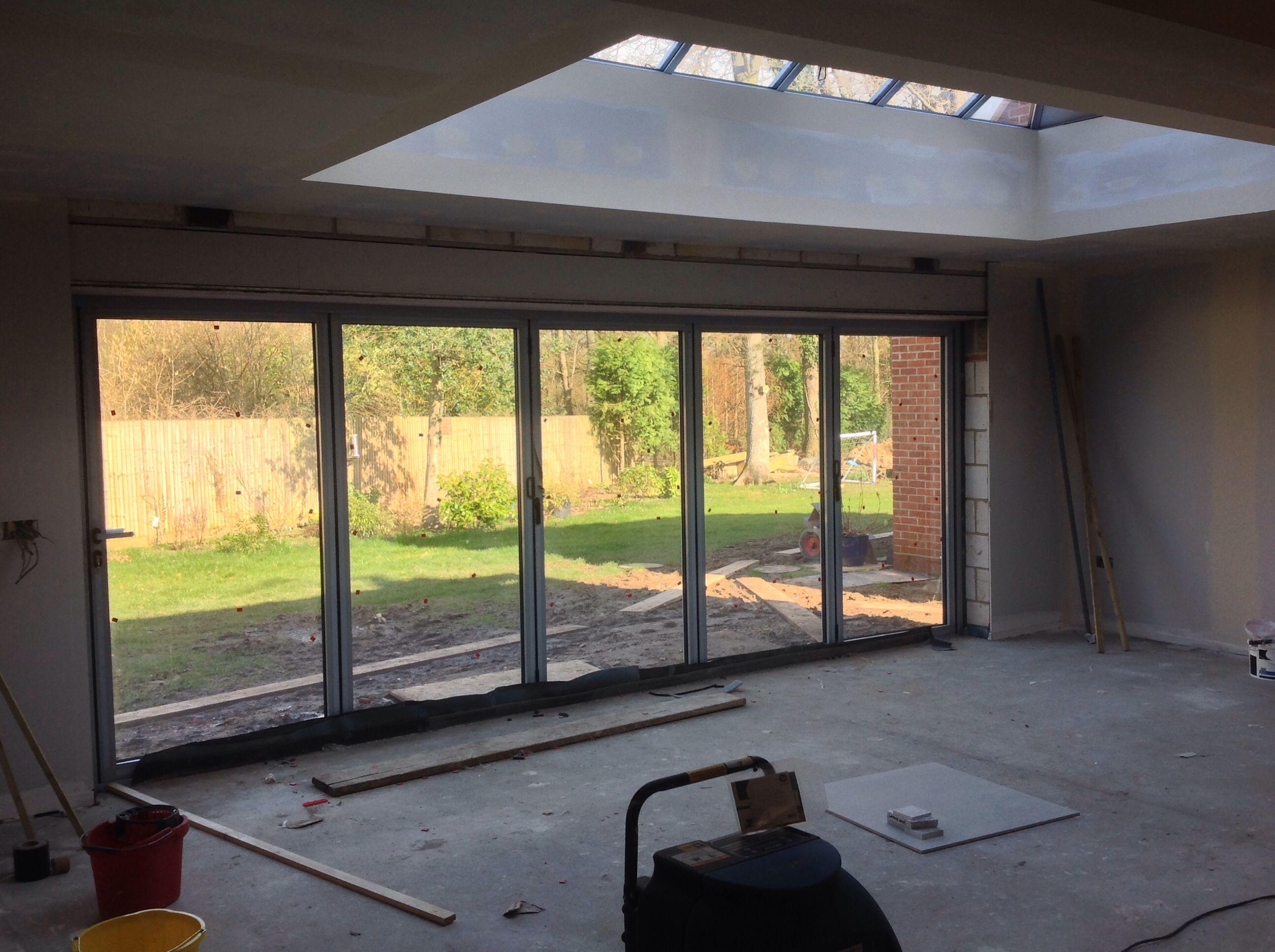 Work In Progress Schuco Bi Folds X5 1 1m Doors And Lantern Roof Glass Porch