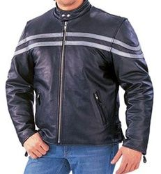 Leather Motorcycle Jacket with silver stripes