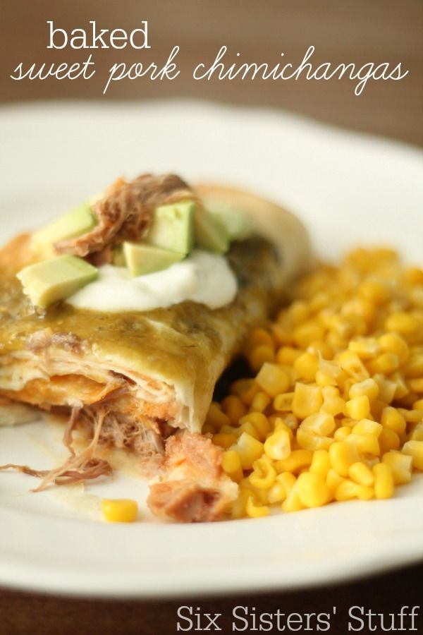 Some of the most amazing, flavorful pork all wrapped up and baked to make an awesome chimichanga! | Baked Sweet Pork Chimichangas from SixSistersStuff.com