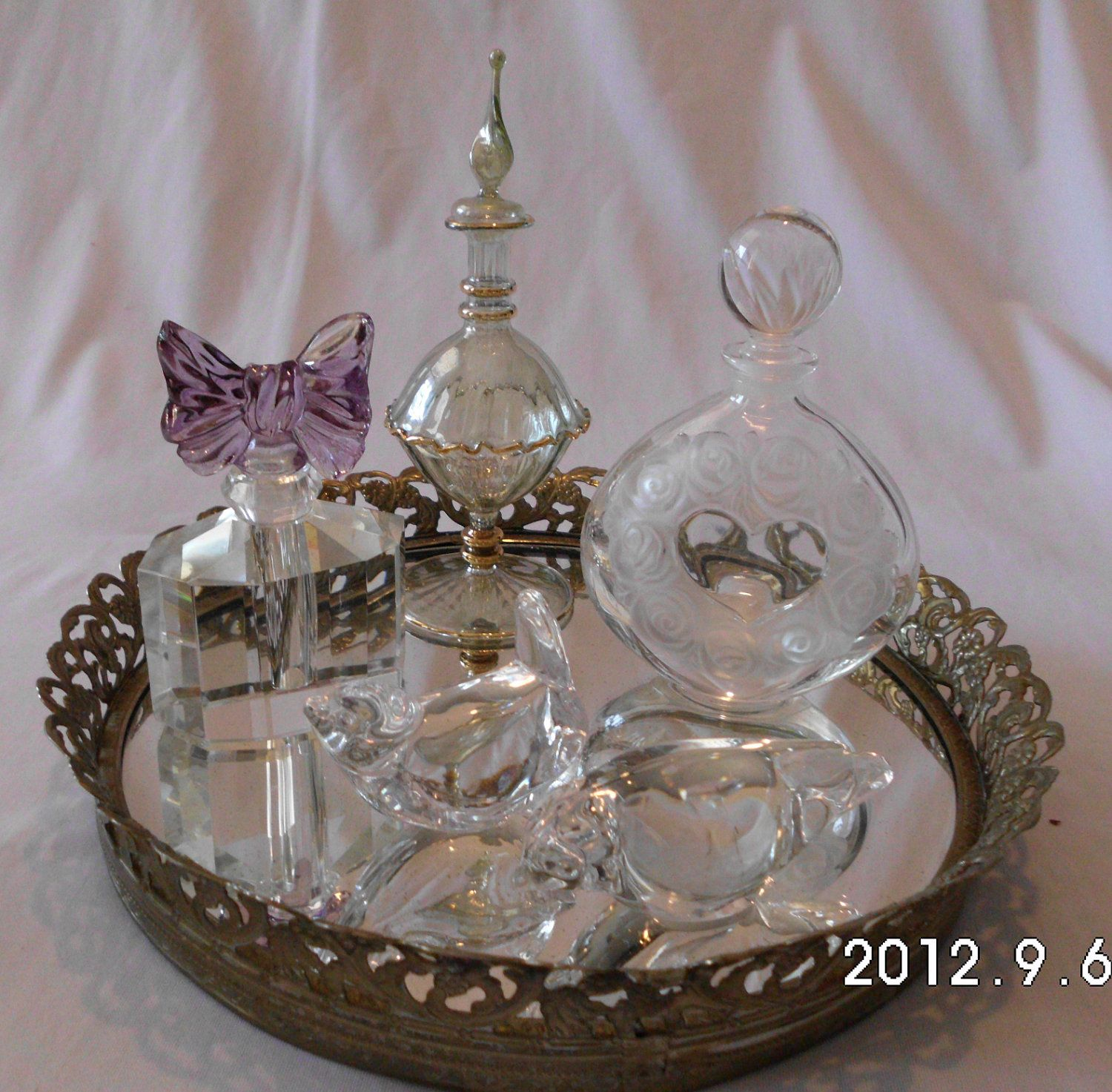 large table crystal pink classy for products or decor tray image vanity boutique