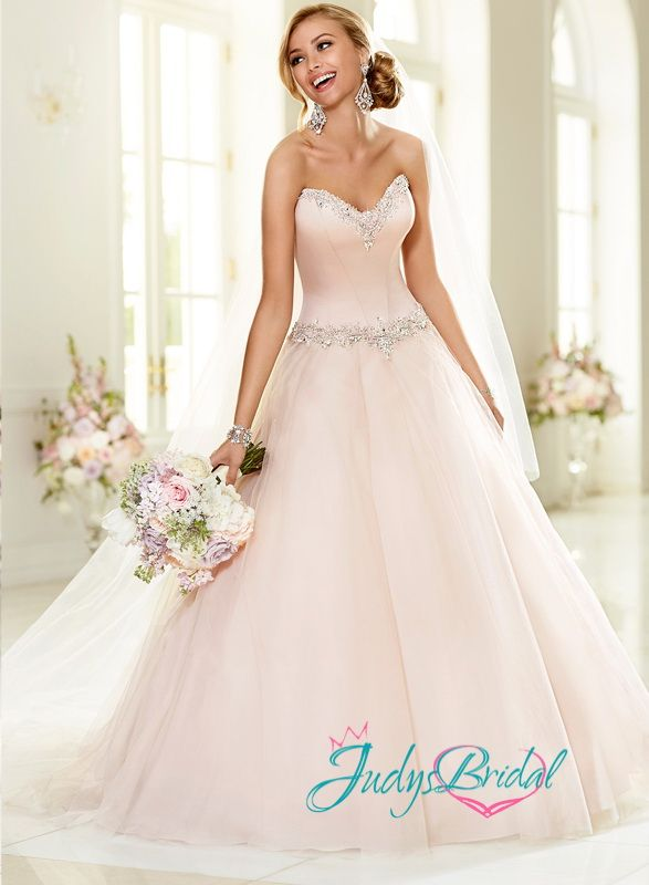 Jw15034 simple sweetheart neckline blush pink simple tulle for Simple pink wedding dress