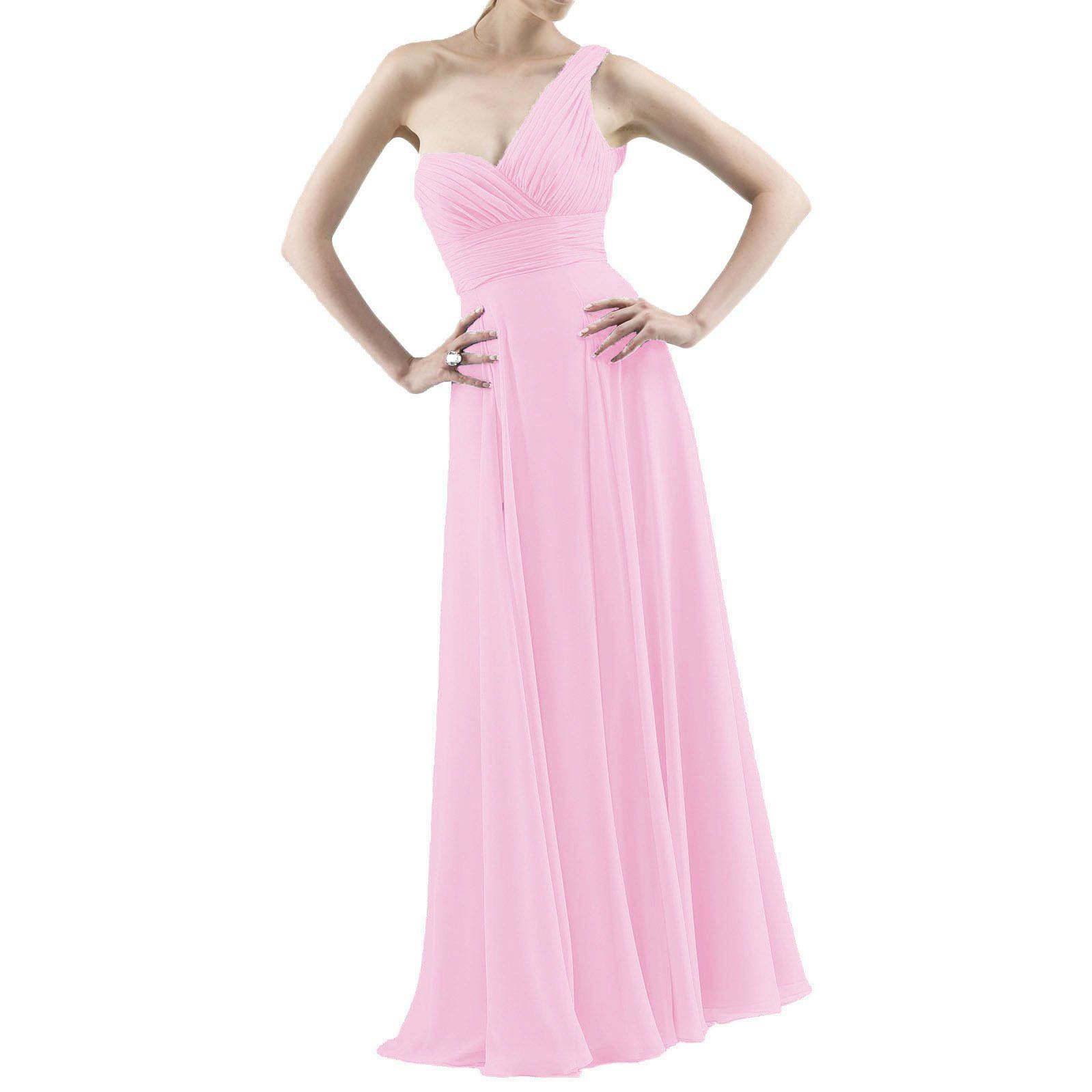 8c33735c347 ModeC Womens Pleat Chiffon One Shoulder Bridesmaid Dresses Long Evening Gown  Pink US10 -- You