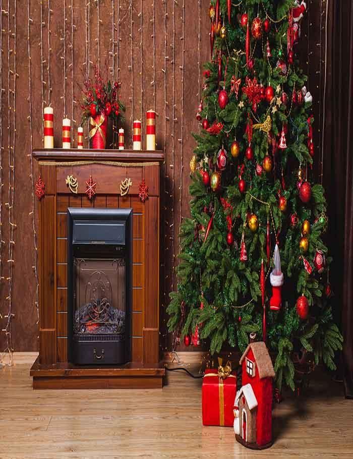 Brown Fireplace Christmas Tree Indoor For Christmas