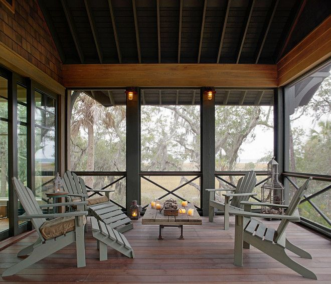 Peaceful Rustic Screened Porch Photos Rustic Screened Porch