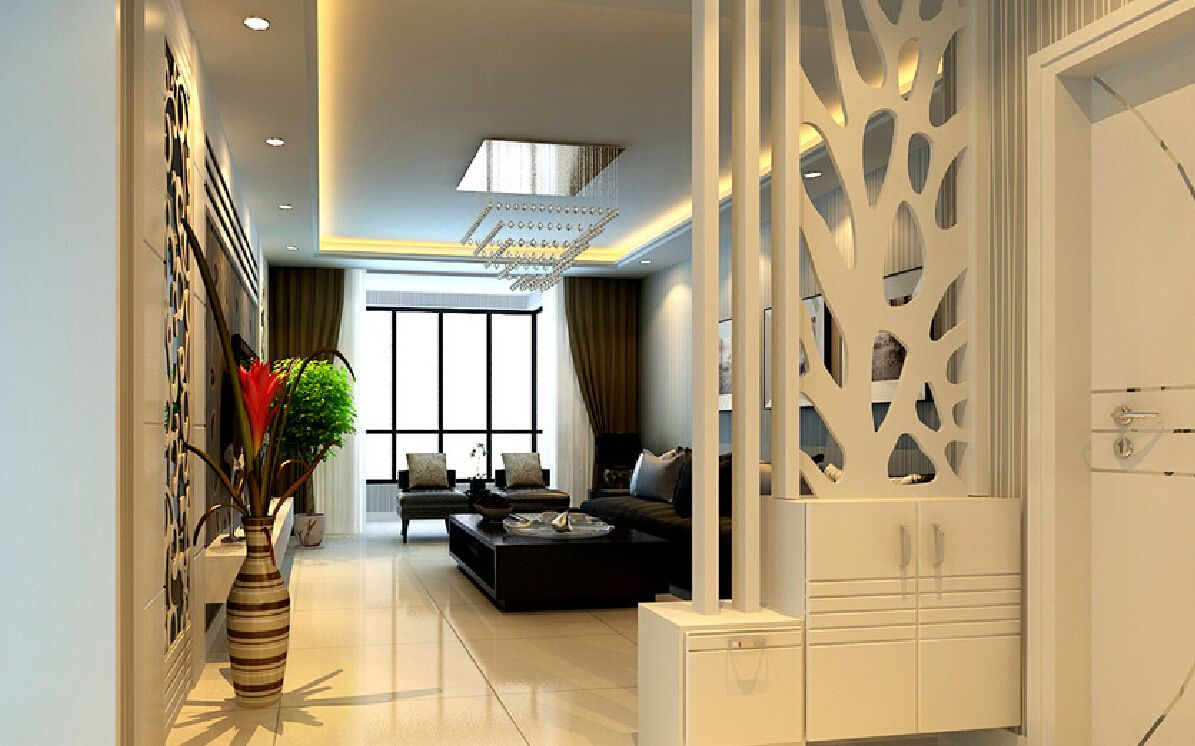Partition design for living room and dining hall for Home living hall design