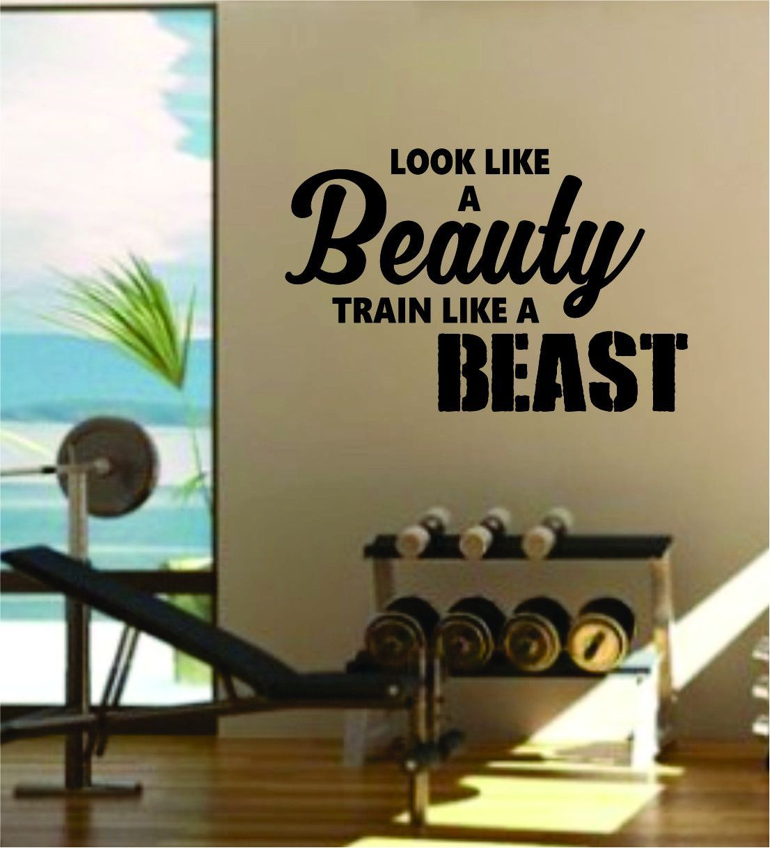 Gym Decal Look Like a Beauty Train Like a Beast Fitness Wall Decal Exercise Decor Gym Decor Fitness Motivation Workout Inspirational Quotes