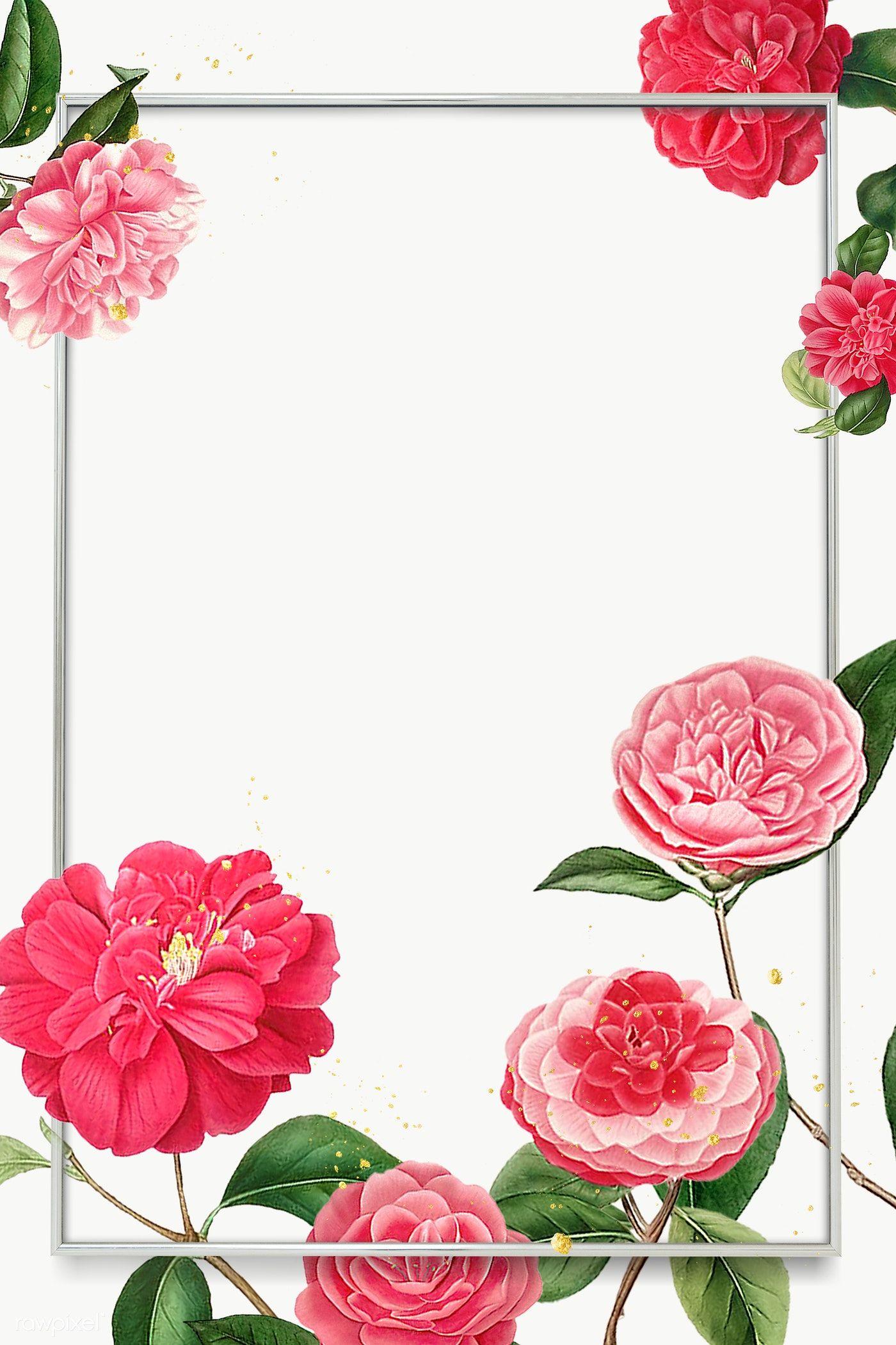 Download Premium Png Of Red And Pink Camellia Flower Patterned Blank Frame Flower Illustration Flower Frame Camellia Flower