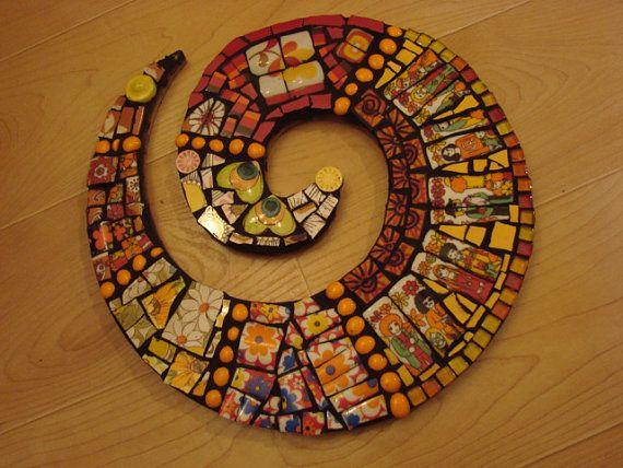 Mosaic Tile Art Retro Hippies Peace People Broken Plate