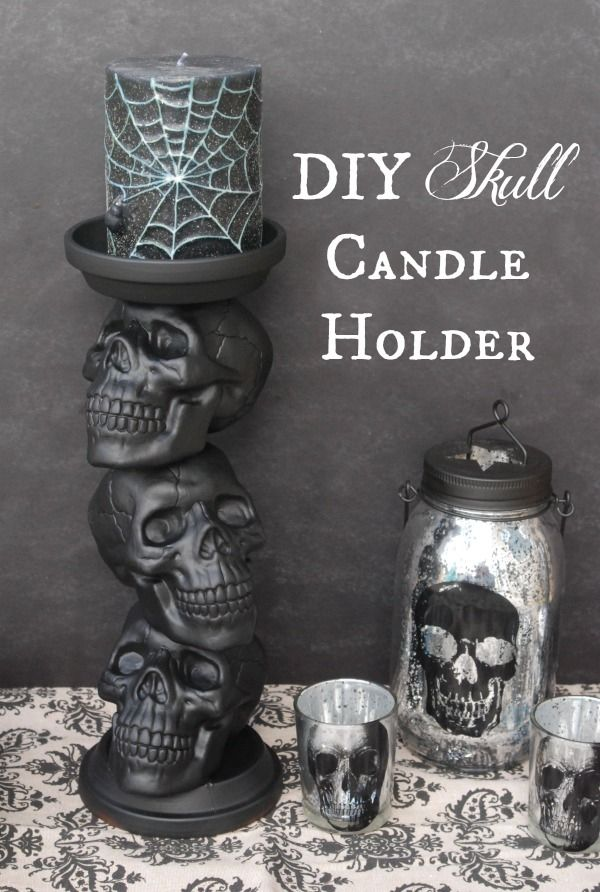 diy skull candle holder 31 days of halloween day 21