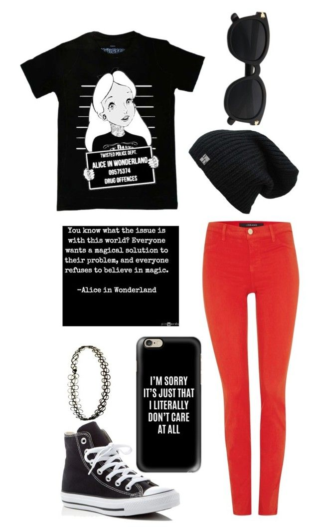 """Black and Red"" by themadhatterxox ❤ liked on Polyvore featuring Disney, J Brand, Converse and Casetify"