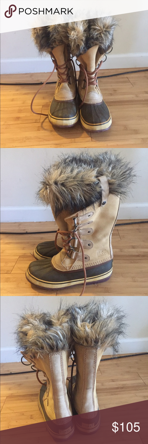 Lightly worn Sorel Joan of Arctic boot Waterproof leather upper with faux fur snow cuff and Sean-sealed waterproof construction. Great boot for heavy snow days. Sorel Shoes Winter & Rain Boots