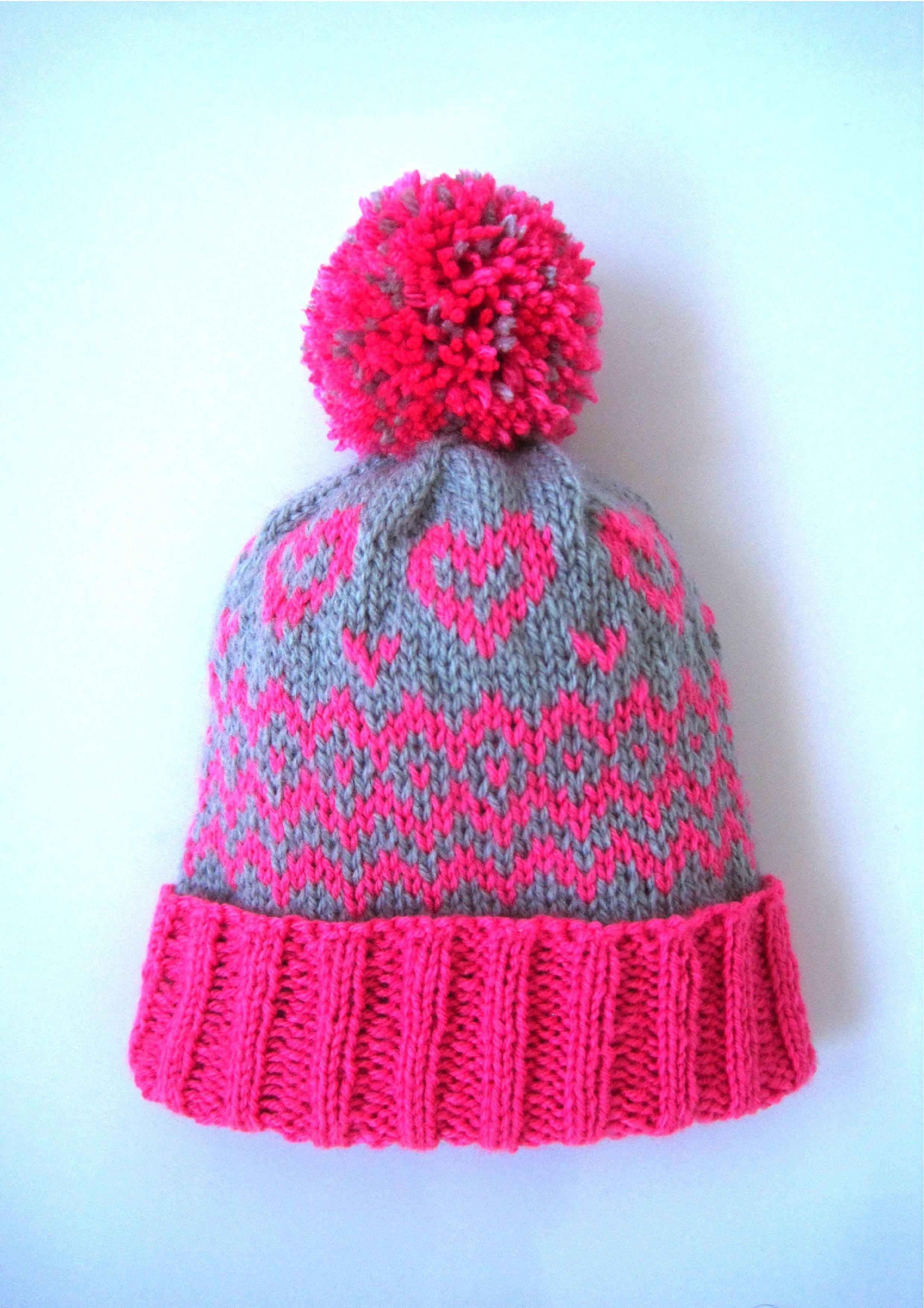 knitting pattern bobble hat pom pom beanie baby girl child ...