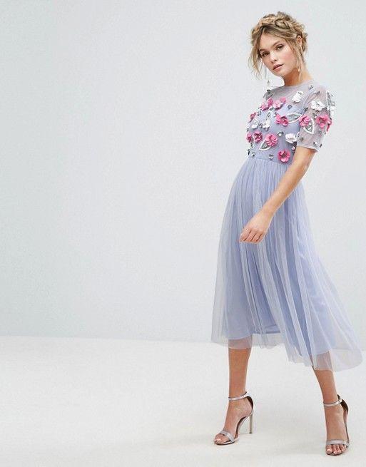 5cb3a56fad66e0 Vestido midi con adornos 3D de Lace & Beads | fashion | Dresses ...