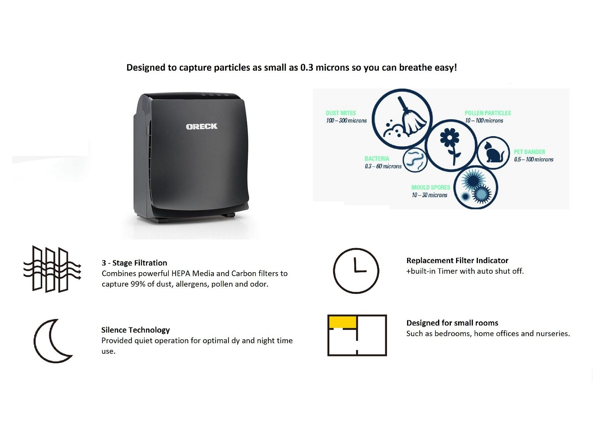 Oreck AirVantage 1 True HEPA Charcoal Air Purifier and