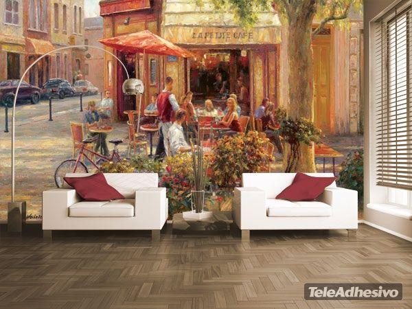fototapeten cafe corner paris haixia liu escapes pinterest wandbilder tapeten und wohnen. Black Bedroom Furniture Sets. Home Design Ideas