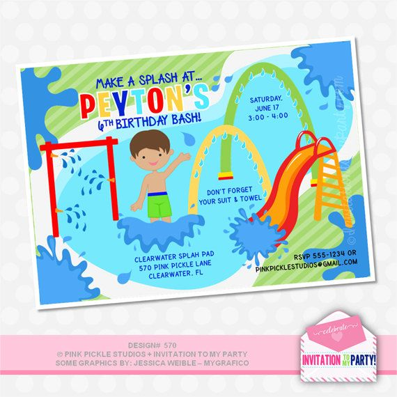 Splash Pad Invitations Water Park Birthday by PinkPickleParties – Park Birthday Invitations