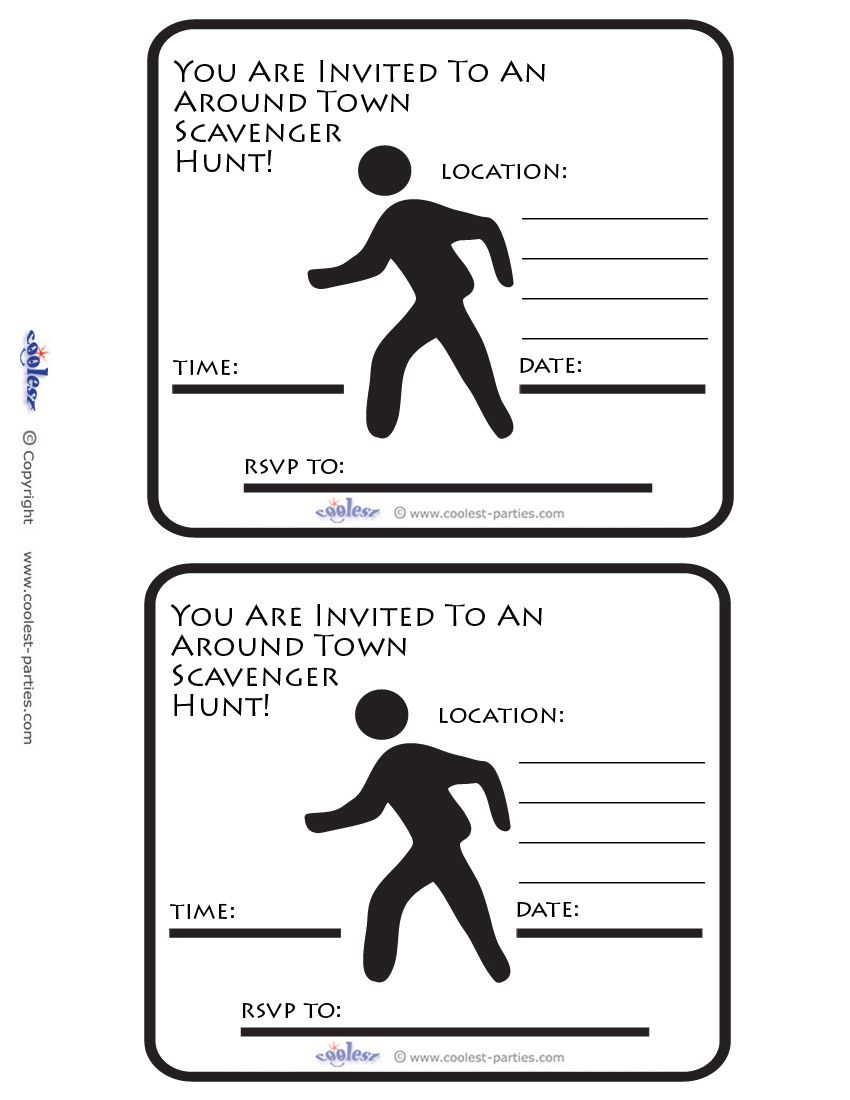Printable Around Town Scavenger Hunt Invitations Free Scavenger