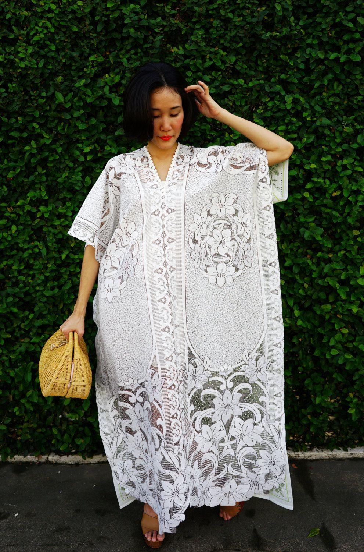 Vintage Upcycled Lace Kaftan Lace Dress Vintage Upcycled Etsy Lace Dress Vintage White Boho Dress Upcycled Dress [ 1500 x 991 Pixel ]