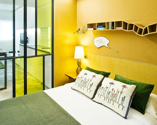 Bedroom Design, Adorable Nobby Bedroom With Yellow Wall Hanging Book ...