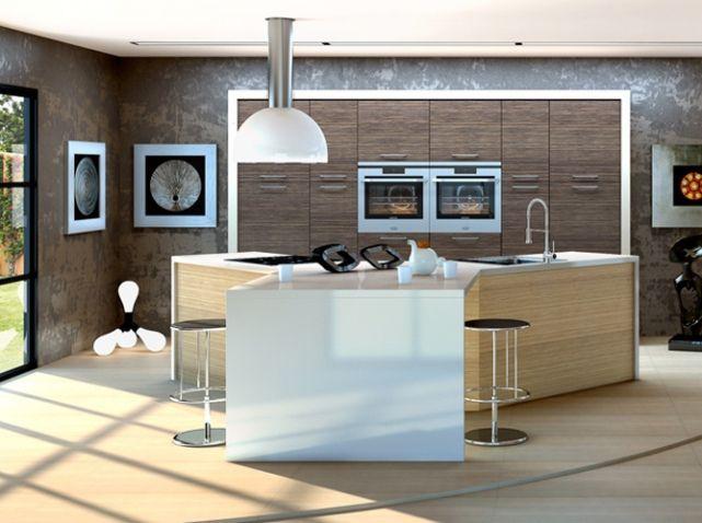 Une grande #cuisine ouverte #originale !   wwwm-habitatfr - Plan De Cuisine Moderne Avec Ilot Central