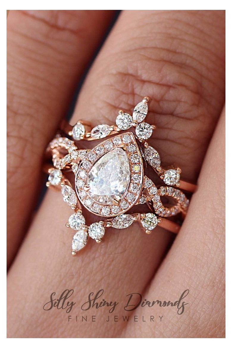 Pear Diamond Unique Wedding Ring Set Available In Rose Gold White Gold Yellow Gold In 2020 Victorian Engagement Rings Wedding Rings Teardrop Wedding Rings Vintage