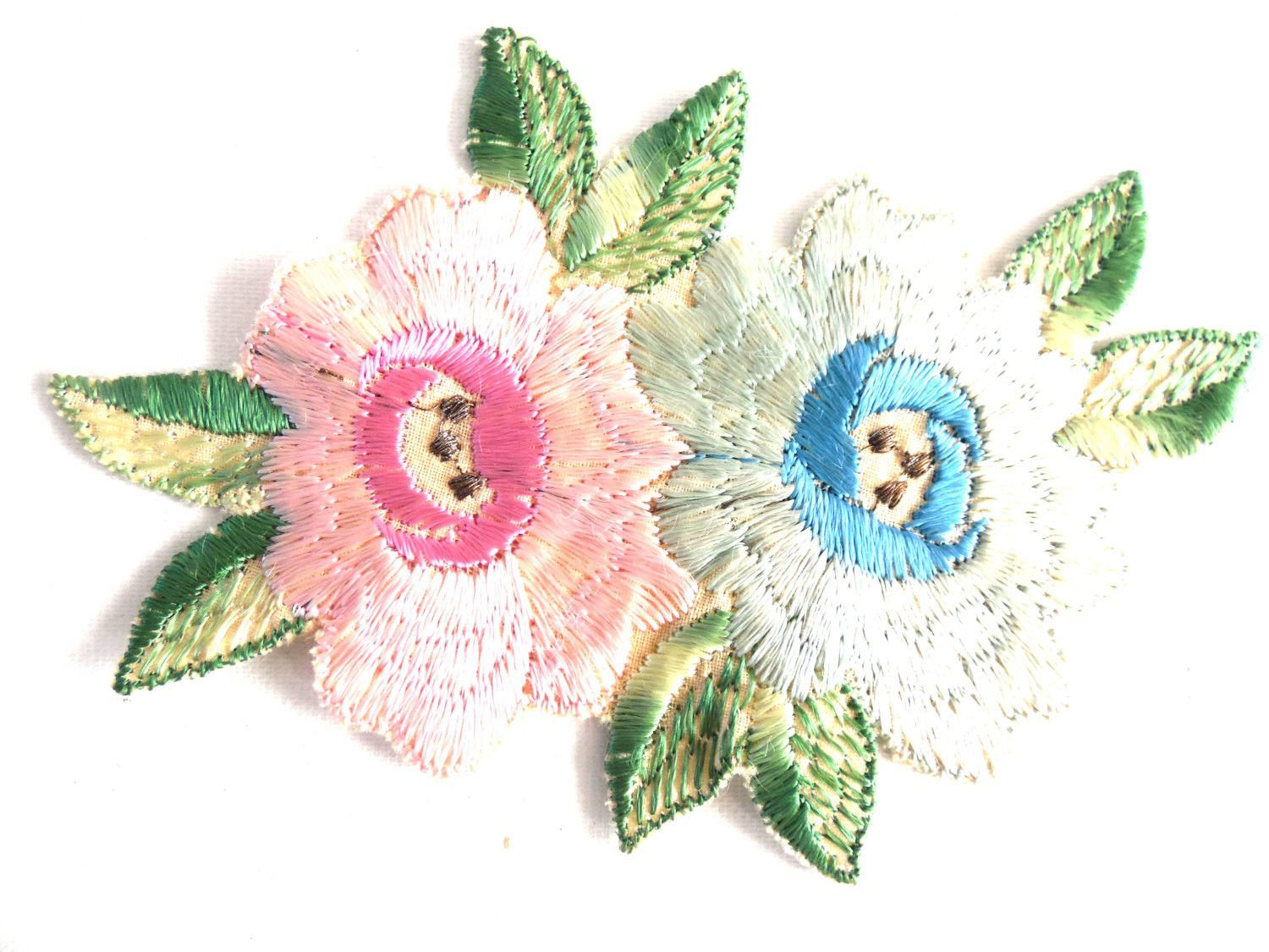 Flower patch applique flower applique s vintage embroidered