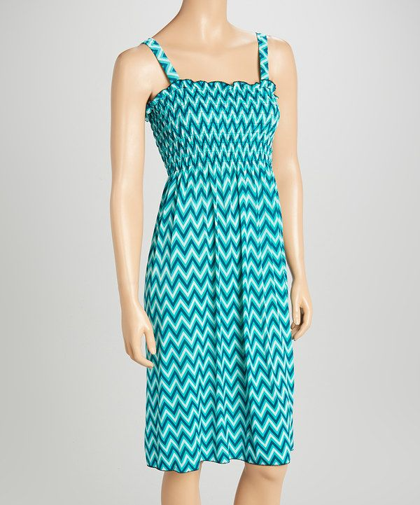 Look at this Blue Zigzag Smocked Dress on #zulily today!