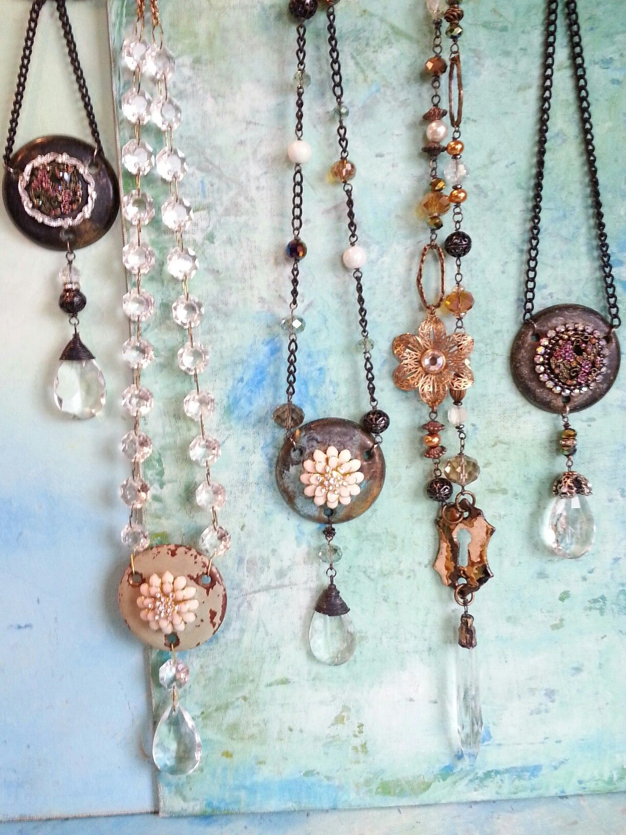 Vintage Assemblage Necklaces #CloverMoonDesigns