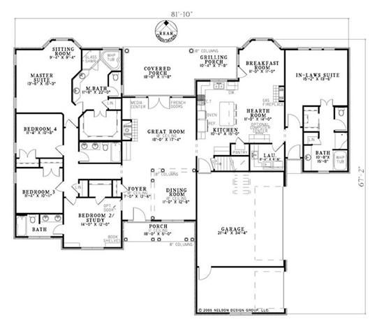 Floor Plan For 1 Level Home Not Exactly What I Want But I Like It Family House Plans Dream House Plans House Floor Plans