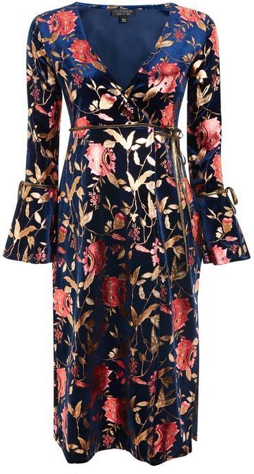 Topshop Foil floral plunge wrap dress Spring Outfits f5e79daab