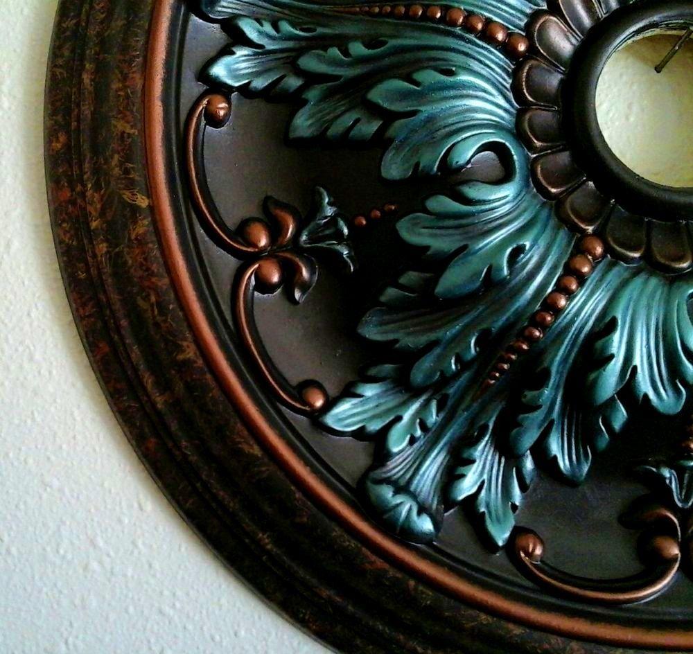Decoration Gorgeous Elegant Hand Painted Turquoise Copper Ceiling Medallion Chandelier Custom Me Ceiling Medallion Chandelier Copper Ceiling Ceiling Medallions