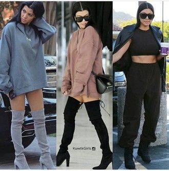 shoes kourtney kardashian knee high boots thigh high boots cute stylish boots black heels black boots suede boots grey boots chunky heels fashion fashionista kardashians