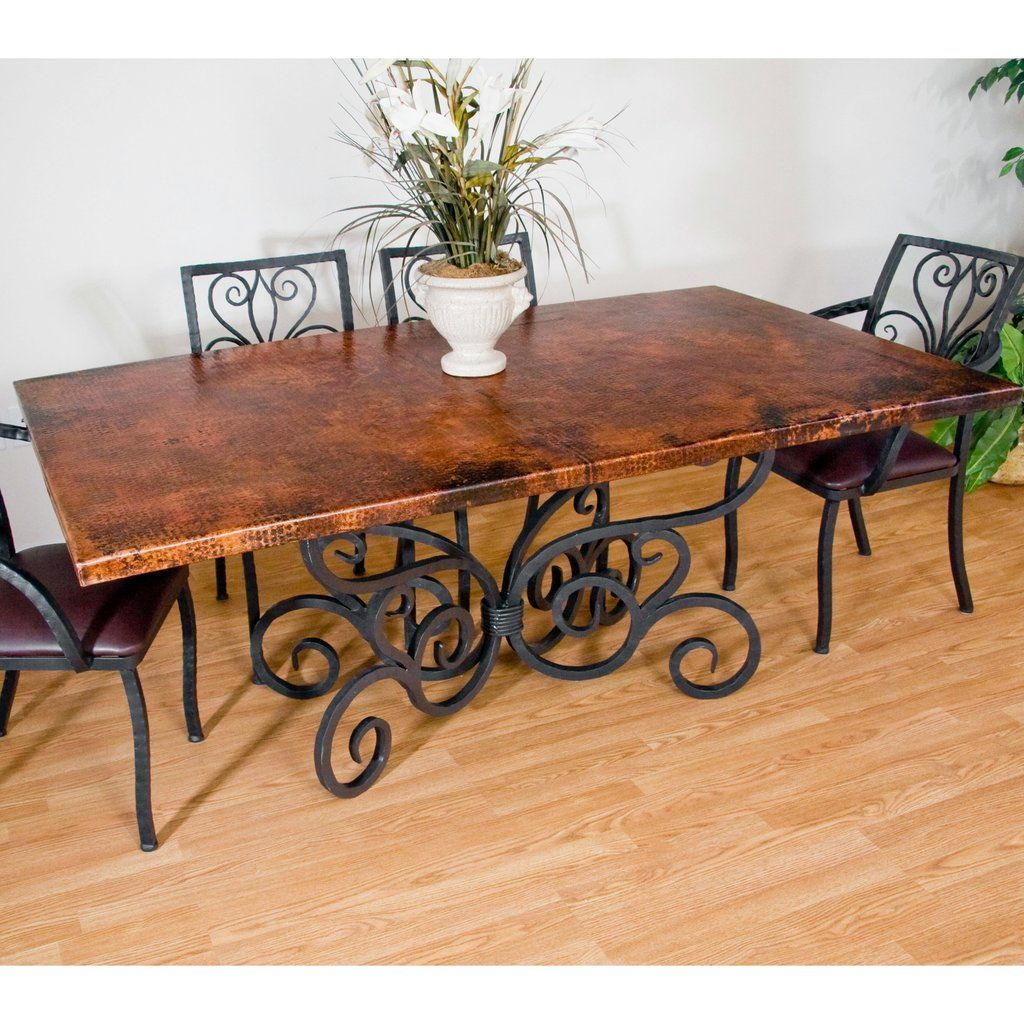 Rustic Style Copper Kitchen Tables In 2019 Table Base Ideas Wrought Iron Chairs Iron Table Iron Furniture