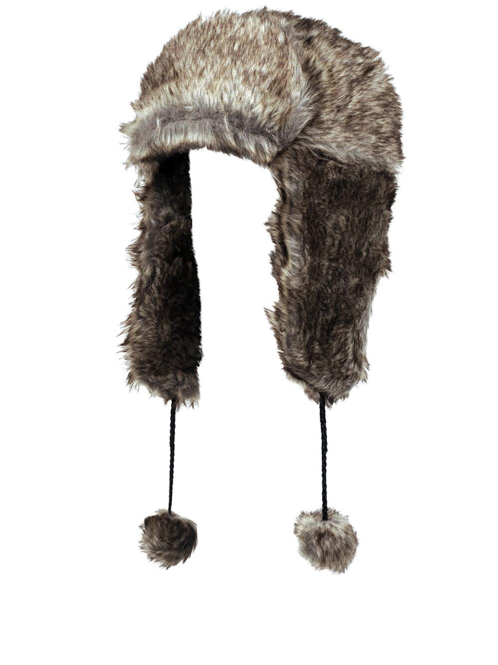 UNISEX TRAPPER LEATHER LOOK FAUX FUR HAT IN BLACK /& BROWN SIZE L-XL