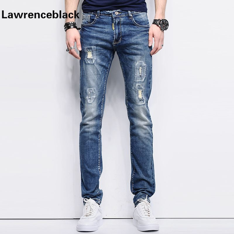 9decdfbfe9395 Ripped Skinny Jeans Men Stretch Hole Jeans Cool Jean Slim Homme All-Match Trousers  Casual Pants Elastic Male Long Pants Men 226