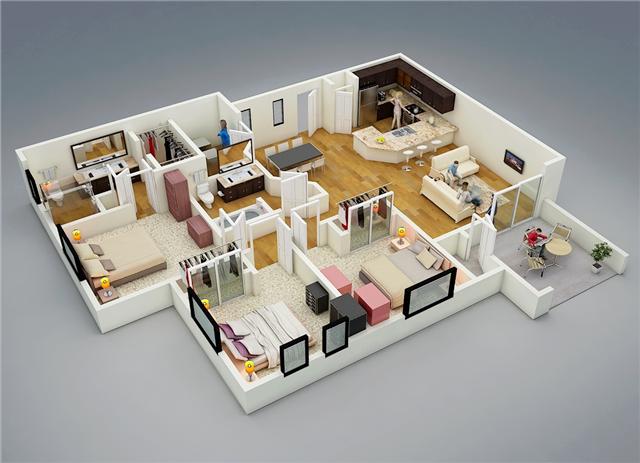 75 Modern And Newest 3 Bedroom 3d 3 Bedroom Plans 3d House Plans House Plans With Photos 3 Bedroom Floor Plan