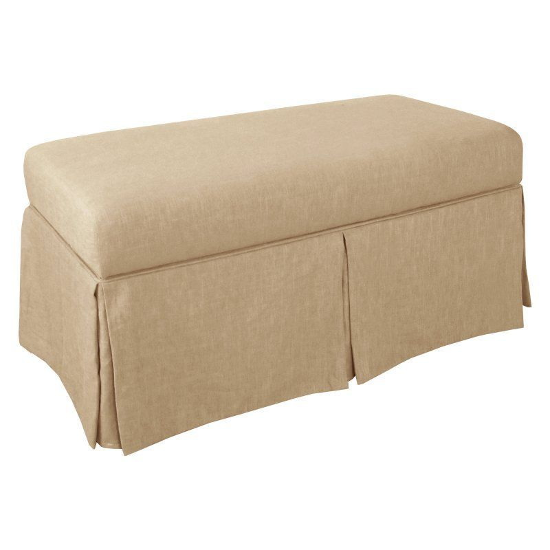 Skyline Linen Skirted Storage Bench Linen Sandstone