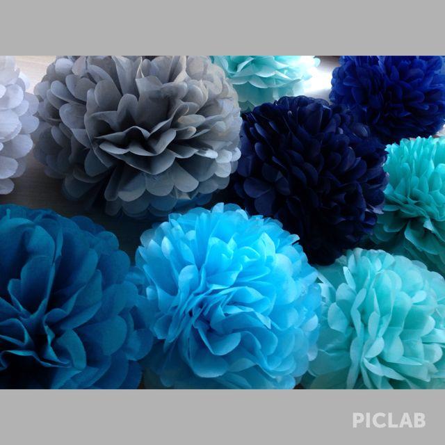 Blue tissue paper pompoms