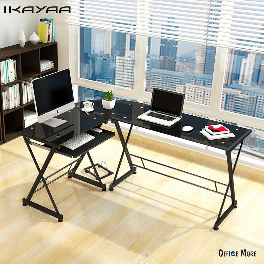 IKayaa US UK FR Lager L Förmigen Ecke Computertisch PC Laptop Bürotisch  Gehärtetem Glas 100 KG Last Home Office Schreibtische Möbel