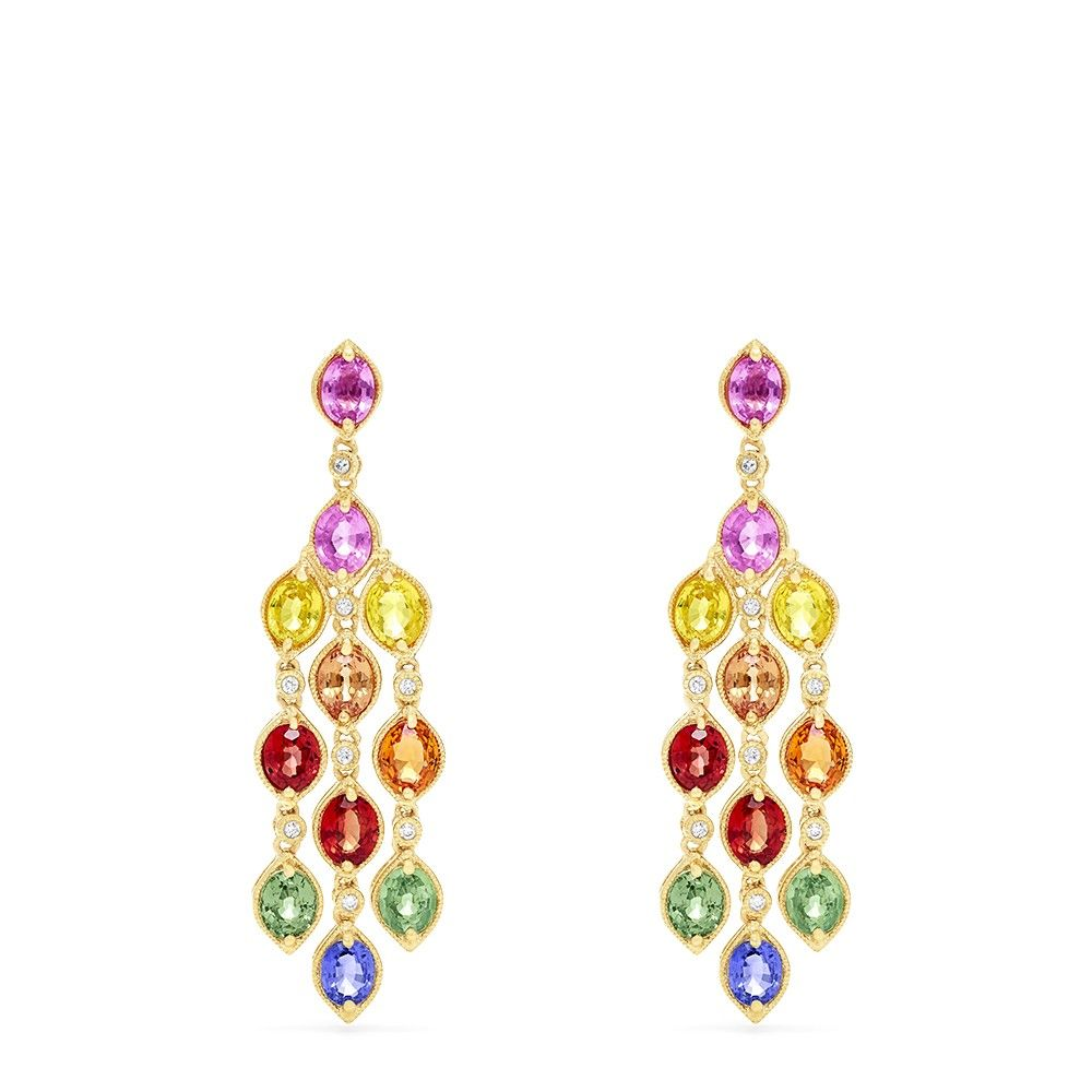 Effy Watercolors 14k Yellow Gold Multi Sapphire And Diamond Earrings