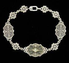 Antique Art Deco 10K Gold Filigree Diamond Bracelet - Circa Great Gatsby 1920's!