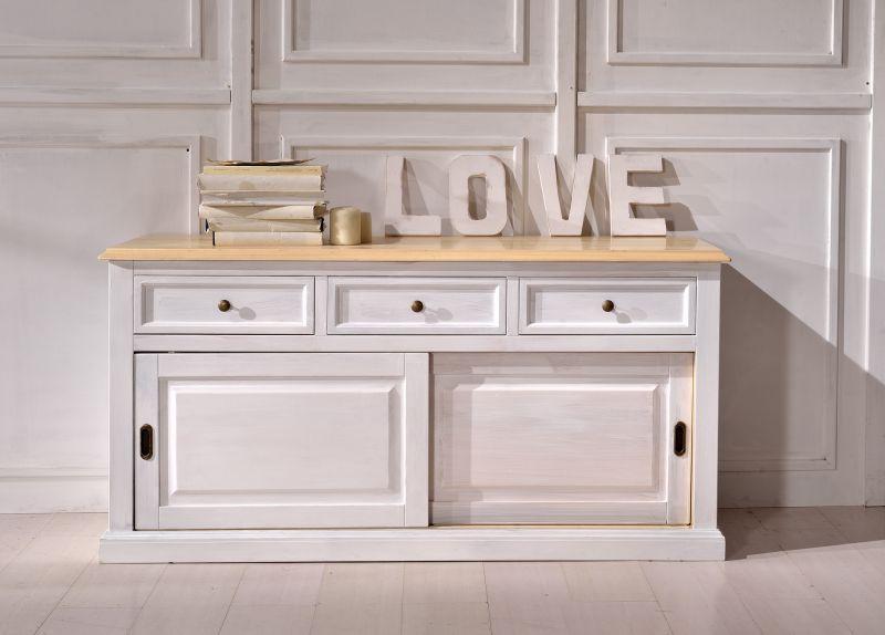 Credenza Da Bagno : Credenza madia in legno shabby chic bicolore bianco e naturale art