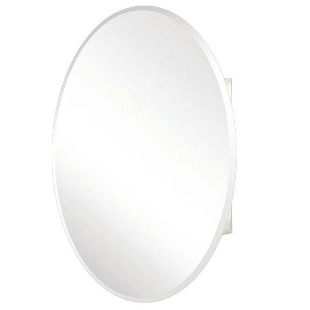 Pegasus 24 In X 36 In Recessed Or Surface Mount Oval Bathroom Medicine Cabinet With Ova Medicine Cabinet Mirror Beveled Mirror Surface Mount Medicine Cabinet