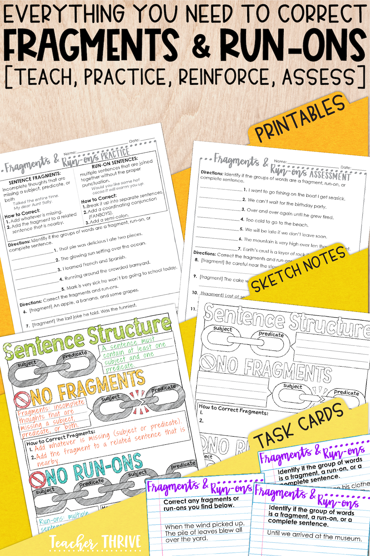 small resolution of Fourth Grade Grammar: Correcting Fragments and Run-ons • Teacher Thrive    Run on sentences